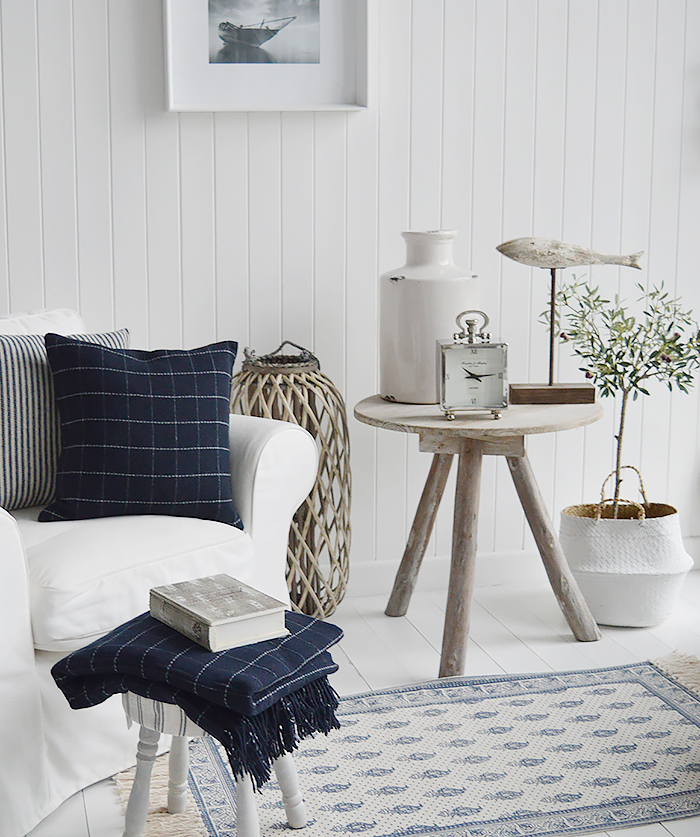 Check Navy and white stripped and checks cushion with Driftwood effect grey wooden tripod side table for a beach style bedroom, bathroom or living room. Bathroom, Living Room, Bedroom and Hallway Furniture for beautiful coastal, country and New England styled homes and interiors