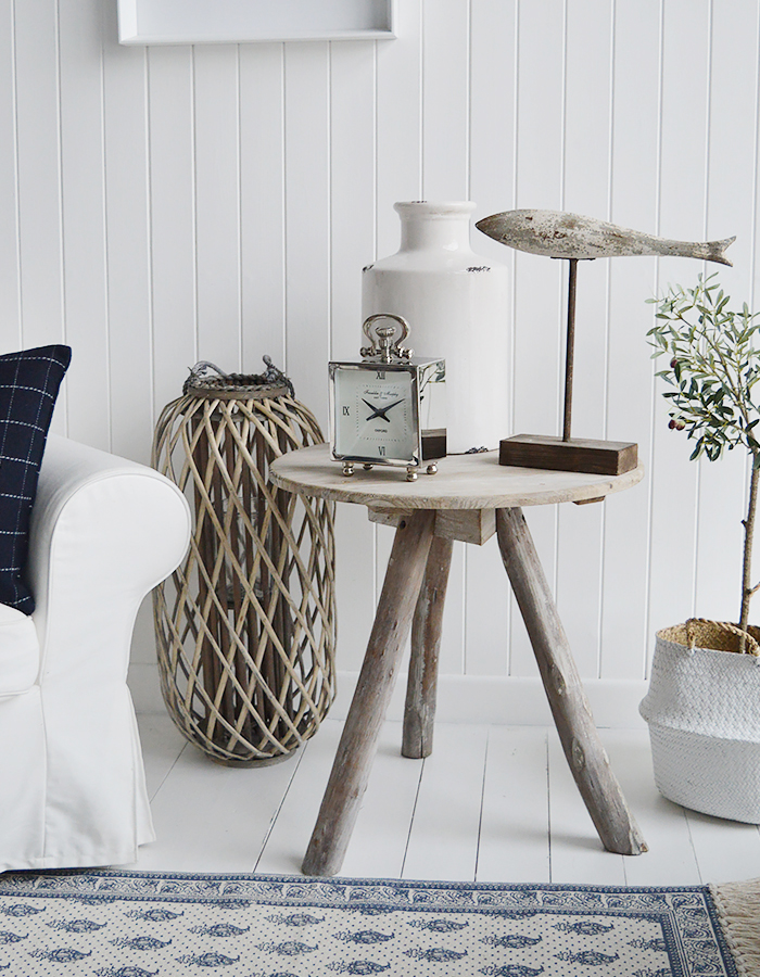 Driftwood effect grey wooden tripod side table for a beach style bedroom, bathroom or living room. Bathroom, Living Room, Bedroom and Hallway Furniture for beautiful coastal, country and New England styled homes and interiors