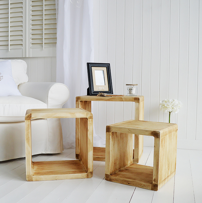 Drfitwood style coastal furniture from The White Lighthouse - A nest of three cube lamp tables