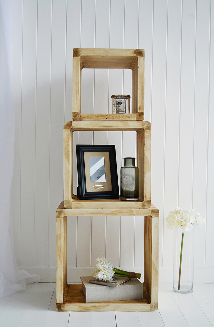Coastal furniture from The White Lighthouse - Cube shelving in Driftwood finish