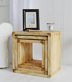 The White Lighthouse Coastal Furniture - A nest of driftwood style lamp tables for the living room and hallway