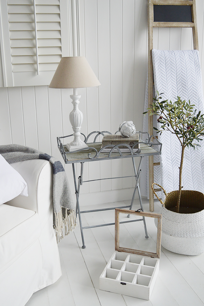 Dorchester blanket ladder with Grayswood folding lamp table for coastal livingroom furniture