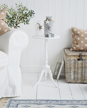 Harvard white small round pedestal table for New England coastal and country white furniture. Living room drinks table