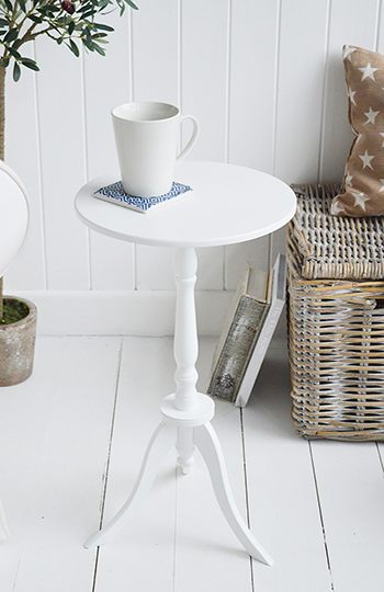 Harvard white small round pedestal table for New England coastal and country white furniture. The White Lighthouse