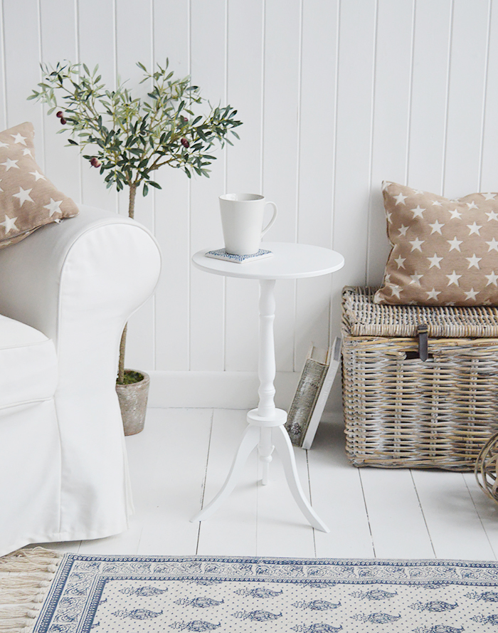Harvard white small round pedestal table for New England coastal and country white furniture. Living room side table
