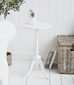 Harvard white small round pedestal table for New England coastal and country white furniture. Narow bedside table in the bedroom or side table in the living room