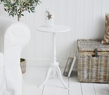 Harvard white small round pedestal table for New England coastal and country white furniture.