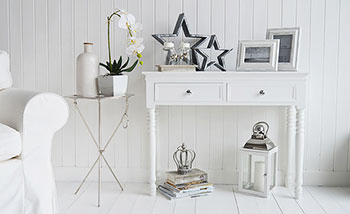SIlver and white sofa table with Kensington lamp table
