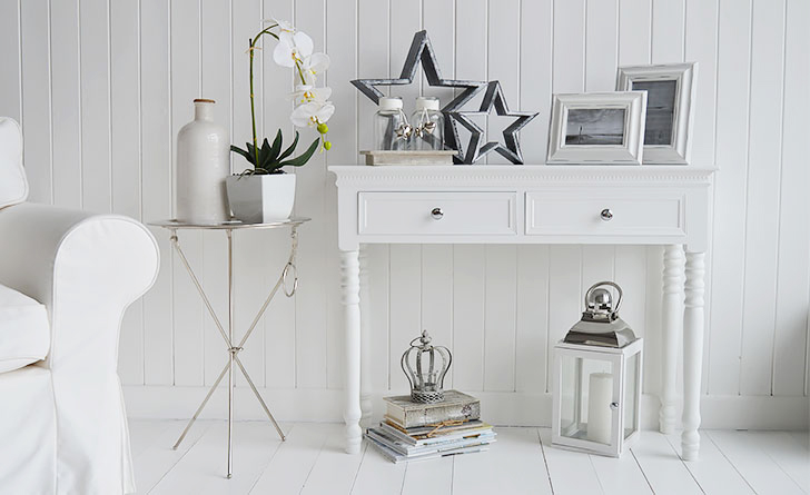 New England white console table with silver handles for an elegant luxurious touch to  hallway furniture and interiors for decorating from The White Lighthouse Hall Furniture