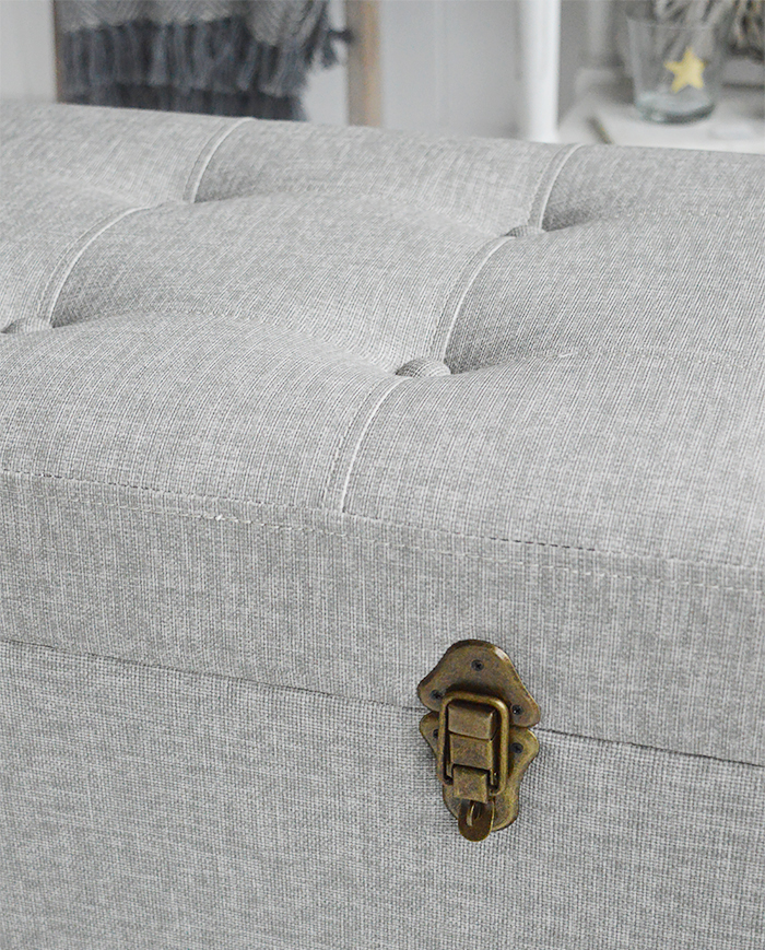 Kittery grey large trunk - coffee table living room furniture, storage trunk for the hallway or blanket box in the bedroom. Coasta, New England COuntry and City furniture and home interiors from The White Lighthouse