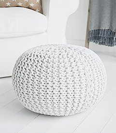 Camden Foot stool		 £45  In Stock  PayPal – The safer, easier way to pay online!  Description  Inspired by the laid back style of New England living in the country, by the coast and in the city, our beautiful Camden off white knitted foot stool or poufe adds warmth and texture to a room while offering extra seating and a comfortable place to rest your feet.