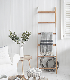 Bamboo Blanket Ladder for living room furniture in Coastal, Country, New England and Scandinavian styled home interiors