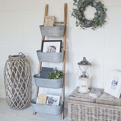 Brunswick ladder with 4 removable hanging galvanised storage pots for New England decor in home interiors