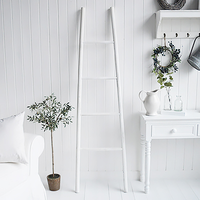 Provincetown Rustic White Blanket Ladder. White and Coastal furniture and accessories for the kitchen. Bathroom, Living Room, Bedroom and Hallway Furniture for beautiful homes
