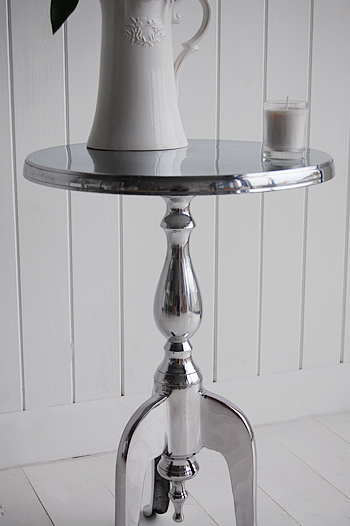 Polished Metal Bedside Lamp Table Wine Table