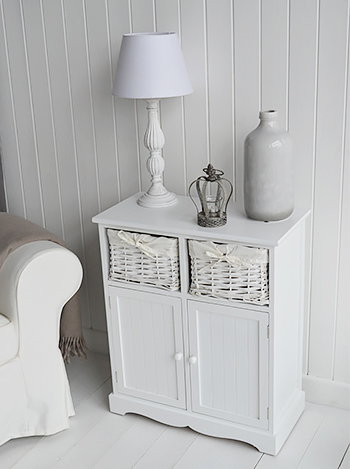 Maine white console table  with 2 cupboards and basket drawers