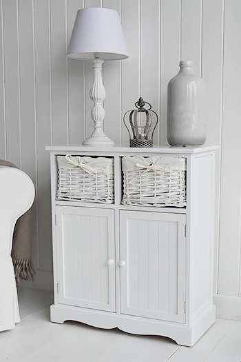 Maine white sideboard with 2 cupboards and basket drawers for living room furniture