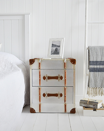 Manhattan vintage bedside table in brushed silver with drawers from The White Lighthouse Coastal, Country, New England, White and Scandinavian furniture and home interior design