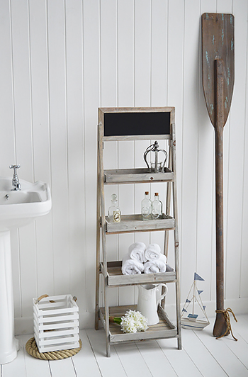 Montauk wooden freestanding shelves for coastal interiors