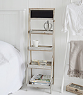 Montauk Wooden Shelf unit for unique bedside table or bedroom furniture in coastal home interior