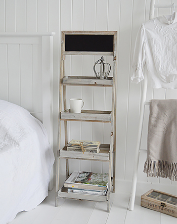 Montauck wooden shelf unit as a unique style of bedside table for both coastal and country interior design