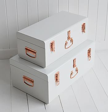 Nantucket white bedside table vintage trunk