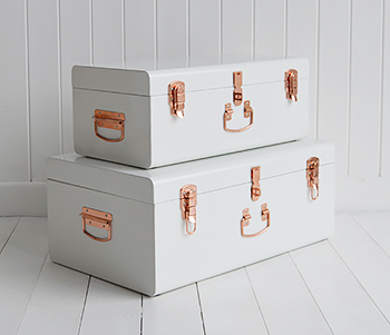 Nantucket white and copper furniture for the home