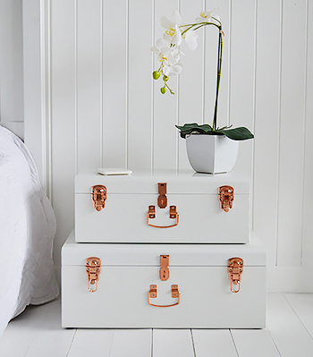 Unique whit bedside table with storage
