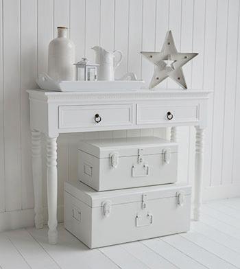 Nantucket White Trunks Set Bedside Table Lamp Table