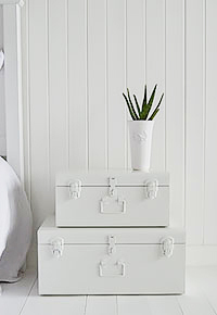 Nantucket white cuitcase vintage bedside table