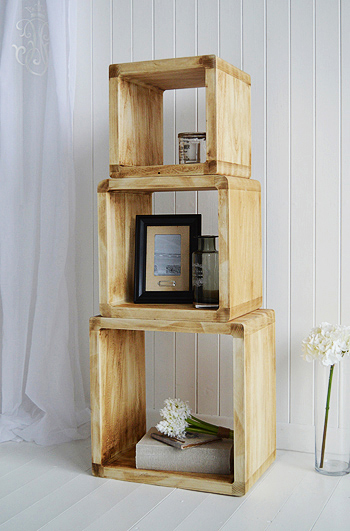 The wooden set of three cubes for display  for gorgeous coastal and New England furniture