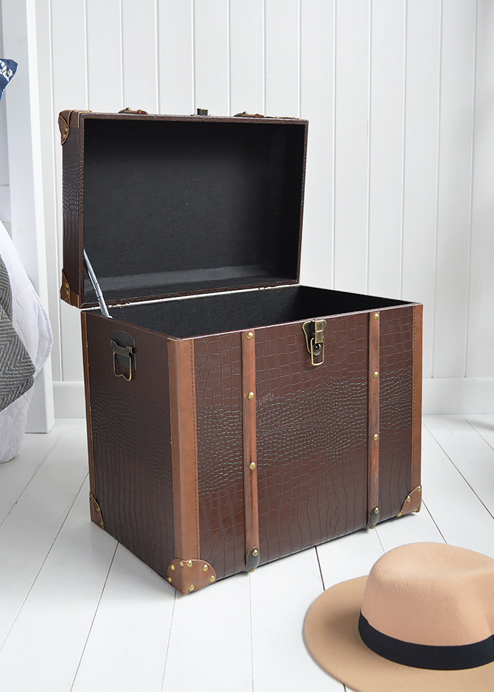 Panama vintage style trunk as a bedside table in New England country and coastal homes interiors UK