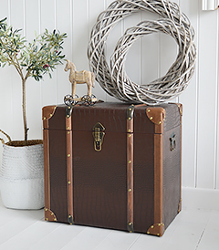 Panama storage trunk. Luxury coffee table in country and coastal New England living rooms