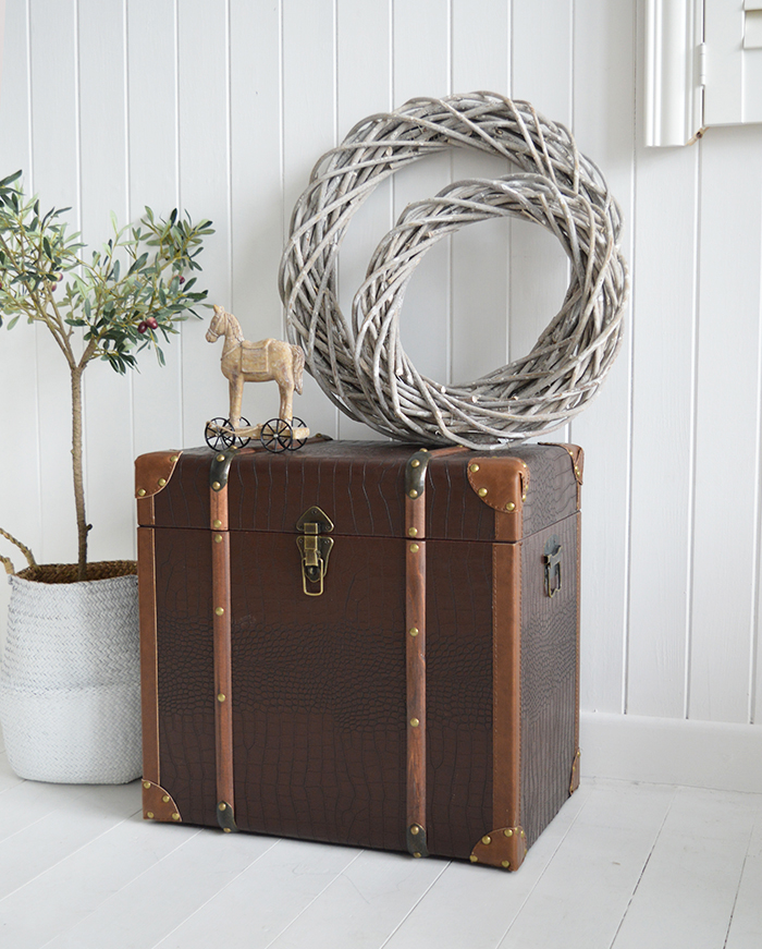 Panama vintage storage trunk for living room from The White Lighthouse New England, country and coastal furniture UK