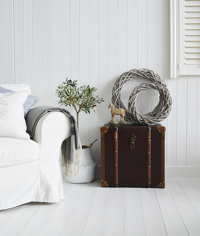 Panama vintage storage trunk for living room from The White Lighthouse New England, country and coastal furniture Uk and Ireland
