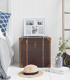 Panama vintage style trunk as a bedside table in New England country and coastal homes