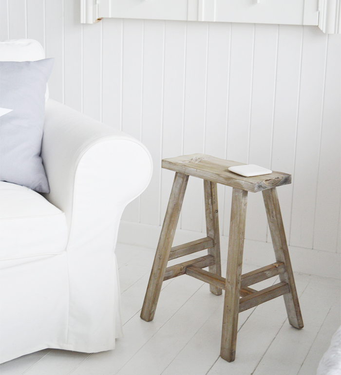 Pawtucket Grey Wooden Stool SIde Table for coastal and country interiors from The White Lighthouse. Bathroom, Living Room, Bedroom and Hallway Furniture for beautiful homes for UK and Ireland