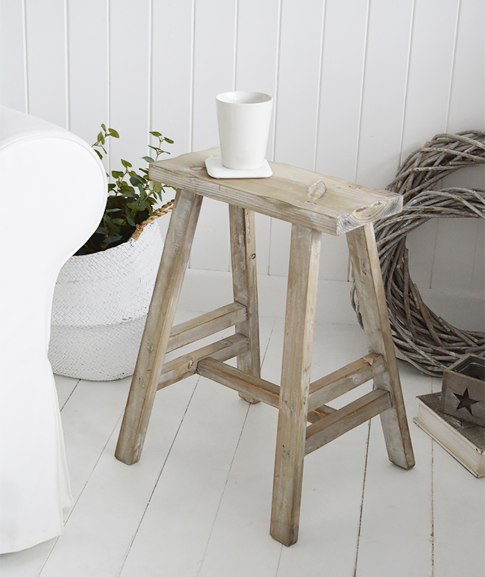 Pawtucket Grey Wooden Stool SIde Table for coastal and country interiors from The White Lighthouse. Bathroom, Living Room, Bedroom and Hallway Furniture for beautiful homes UK and Ireland