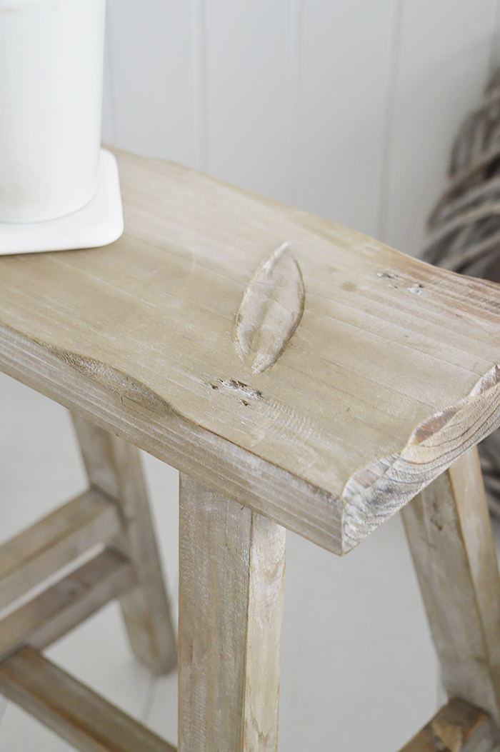 Pawtucket Grey Wooden Stool SIde Table for coastal and country interiors from The White Lighthouse. Bathroom, Living Room, Bedroom and Hallway Furniture for beautiful homes close finish driftwood