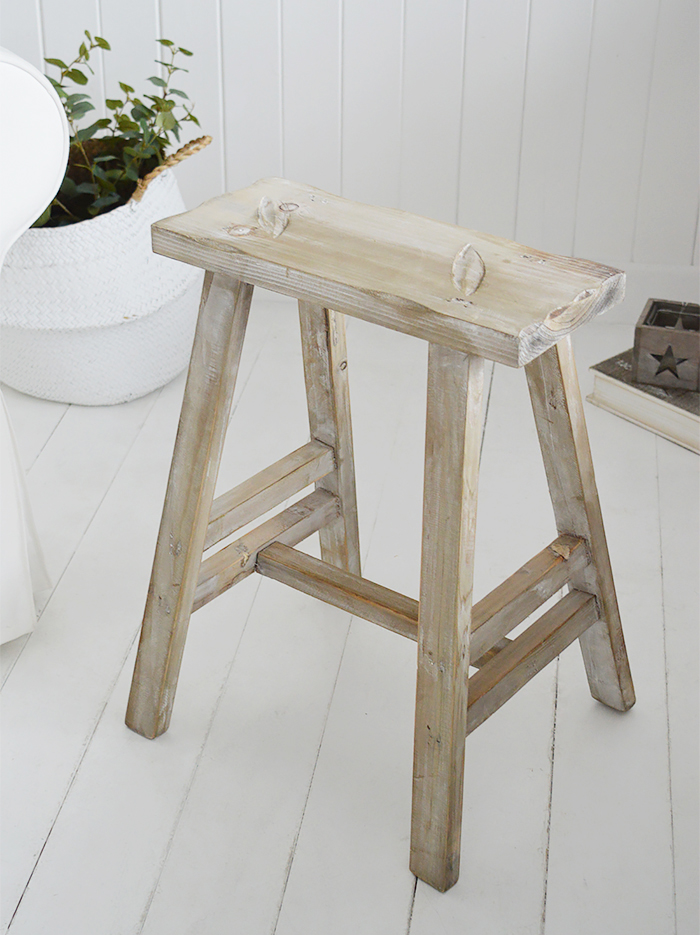 Pawtucket Grey Wooden Stool SIde Table for coastal and country interiors from The White Lighthouse. Bathroom, Living Room, Bedroom and Hallway Furniture for beautiful homes As extra seating