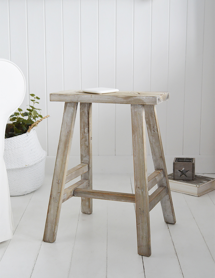 Pawtucket Grey Wooden Stool SIde Table for coastal and country interiors from The White Lighthouse. Bathroom, Living Room, Bedroom and Hallway Furniture for beautiful homes and  styling