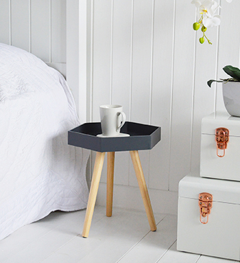 Small hexagonal grey small drinks table for bedside table