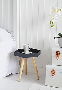 Portland Charcoal hexagonal small tripos bedside table