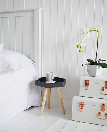 Portland charcoal bedside table