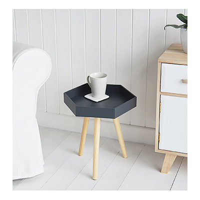 Portland dark grey small side table