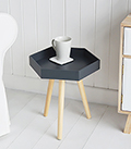 Portland dark grey hexagonal small bedside table