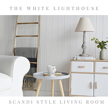 Scandi style living room furniture from The White Lighthouse. Delivery to UK