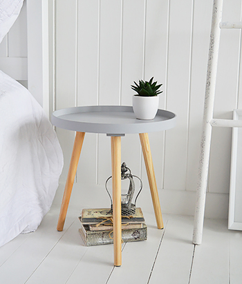 Portland Grey Small Bedside Table. A very stylish nordic style table, ideal in a simple Scandinavian styled bedroom interior