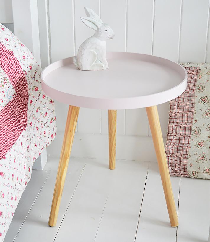 Portland pink bedside table for girls bedroom furniture