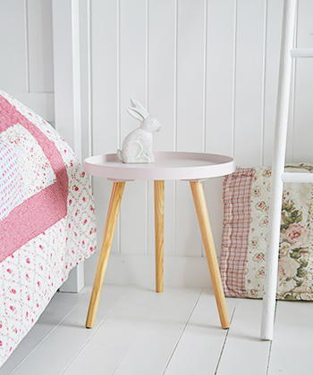 Small Portland pink bedside . A pretty little table perfect for a girls bedroom or to add a touch of feminine to a bedroom